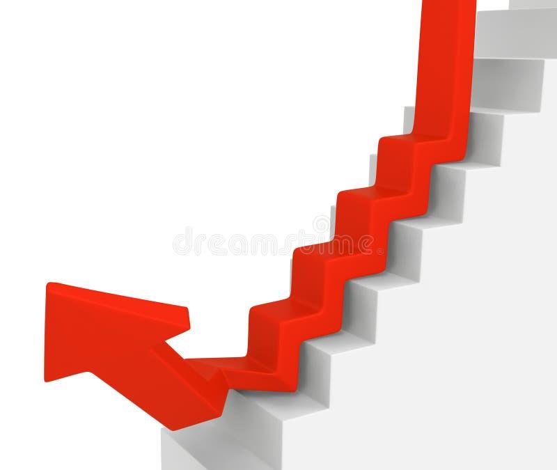 Las escaleras de la flecha abajo suben ilustración del vector