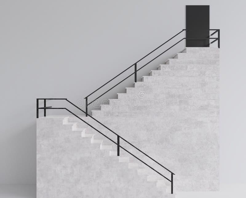 las escaleras de la representación 3d caminan estilo mínimo constructivo stock de ilustración