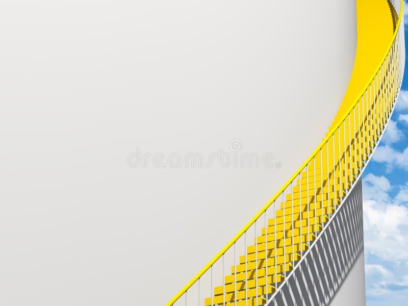 Las escaleras del metal pasan la pared blanca redonda, 3 d ilustración del vector