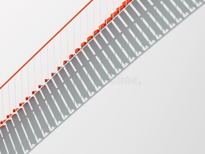 Las escaleras rojas del metal con la sombra modelan 3 d libre illustration
