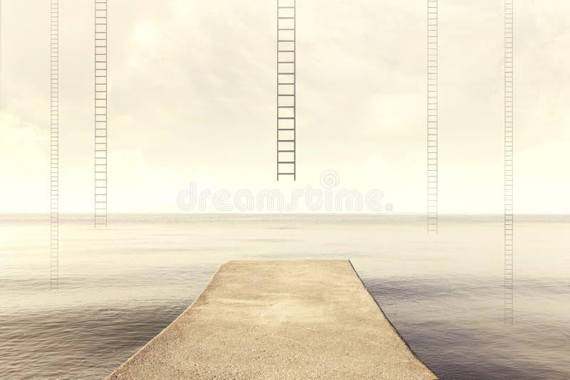 Las escaleras surrealistas se alzan en el cielo en un paisaje silencioso del mar foto de archivo