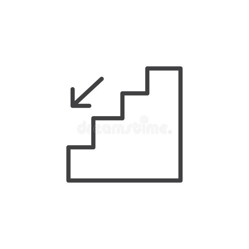 Las escaleras y la flecha de la emergencia abajo resumen el icono stock de ilustración
