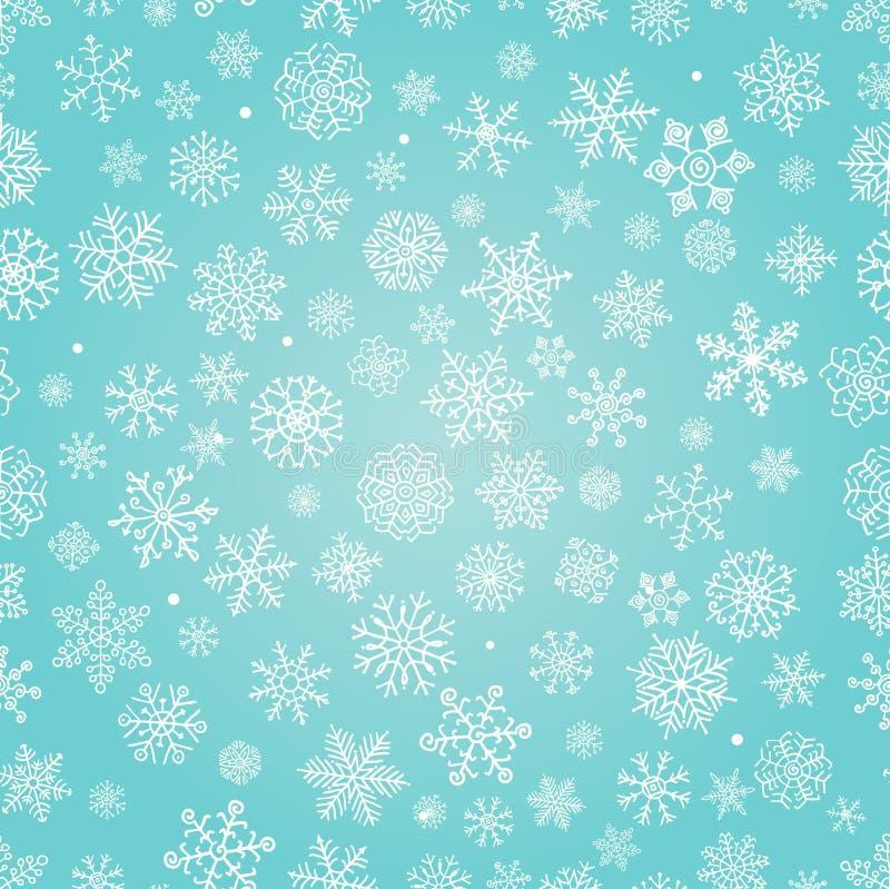 Las escamas de la nieve del invierno garabatean el fondo inconsútil ilustración del vector