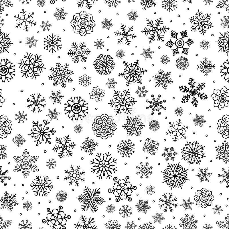 Las escamas de la nieve del invierno garabatean el fondo inconsútil libre illustration