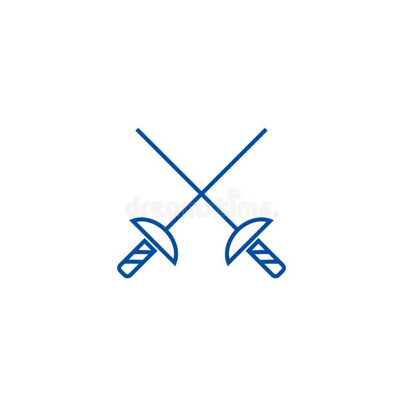 Las espadas de cercado alinean concepto del icono Símbolo plano del vector de las espadas de cercado, muestra, ejemplo del esquem libre illustration