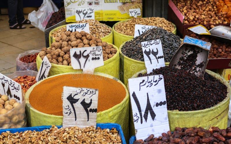 Las especias comercializan en el bazar magnífico, Teherán fotos de archivo