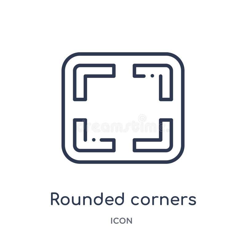 las esquinas redondeadas ajustan el icono de la colección del esquema de la interfaz de usuario La línea fina redondeó el icono c stock de ilustración
