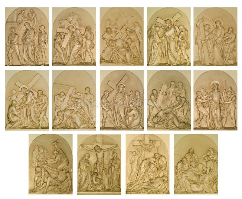 Las estaciones de la cruz imagenes de archivo