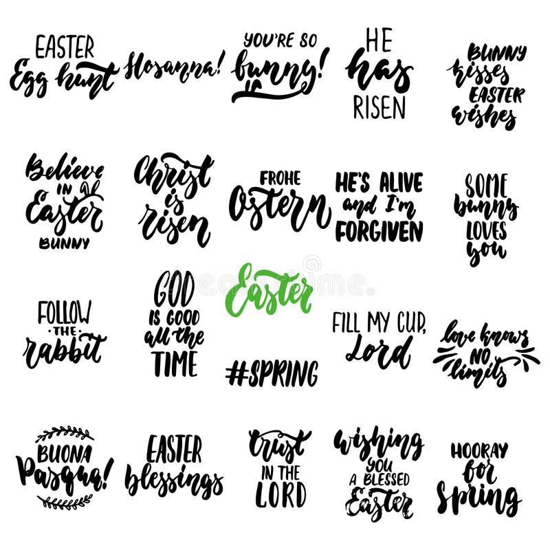 Las estaciones dibujadas mano fijaron de frase de las letras sobre Pascua aislaron en el fondo blanco Vector de la tinta del cepi libre illustration