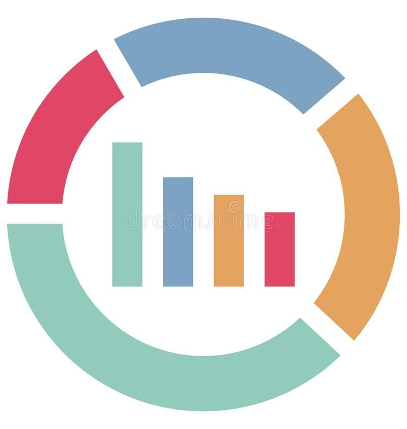 Las estadísticas colorean el icono aislado del vector que puede ser modificado o corregir fácilmente stock de ilustración