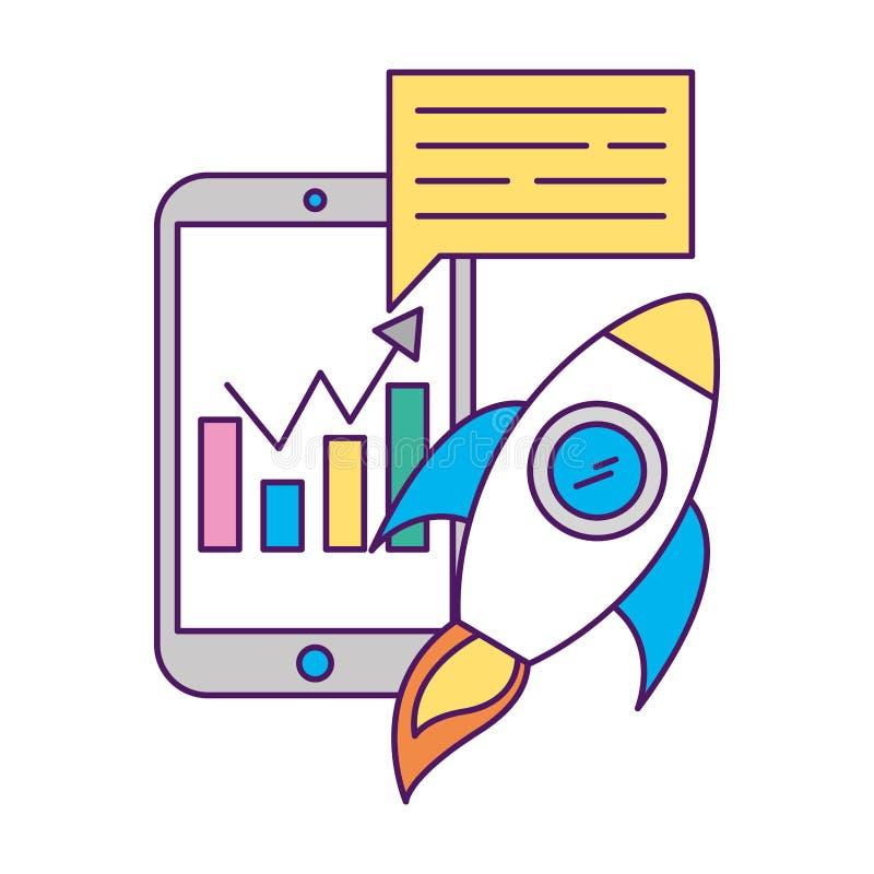 Las estadísticas de Smartphone trazan la burbuja de lanzamiento del discurso stock de ilustración