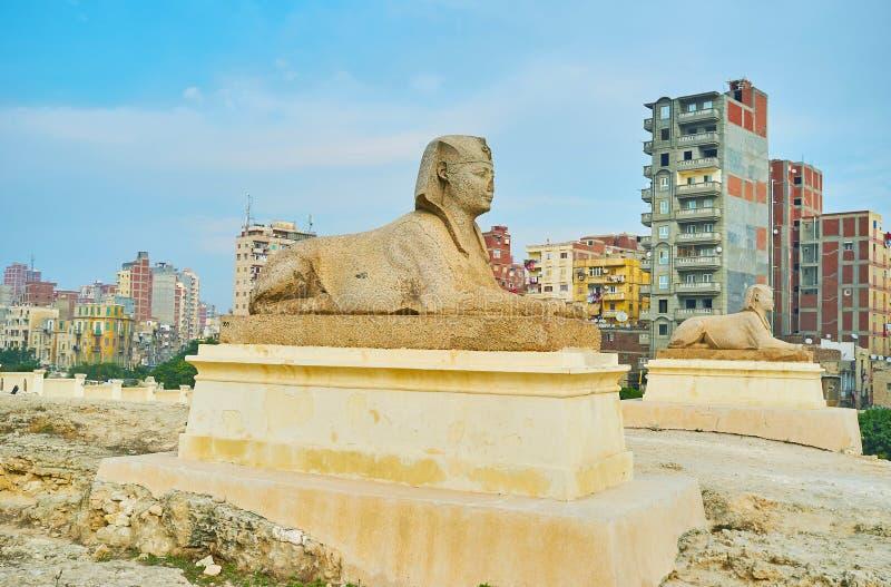 Las estatuas en Serapeum, Alexandría, Egipto imagen de archivo libre de regalías