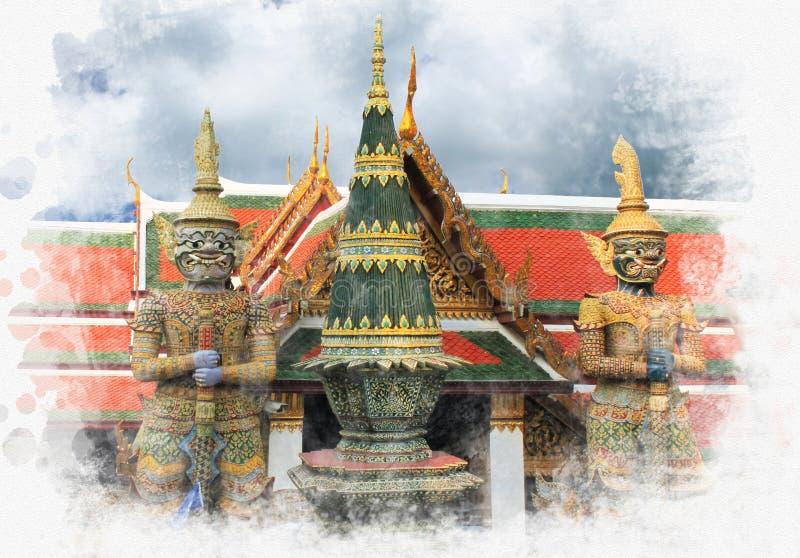 Las estatuas gigantes son guarda en el palacio magnífico en Bangkok fotografía de archivo