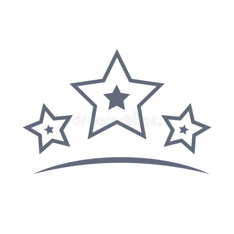 Las estrellas alinean el icono o el logotipo en la línea estilo Pictograma del esquema del vector para infographic stock de ilustración