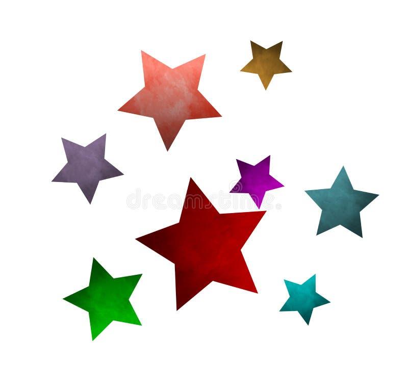 Las estrellas brillan el fondo blanco del modelo stock de ilustración