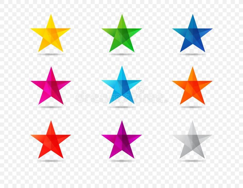 Las estrellas coloreadas forman los iconos aislados en fondo transparente ilustración del vector