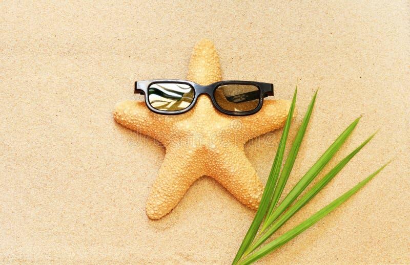 Las estrellas de mar divertidas en el verano varan con la arena foto de archivo libre de regalías