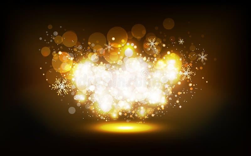Las estrellas de oro dispersan para rielar el partido de neón del invierno de la Navidad del confeti de la celebración, polvo bri ilustración del vector