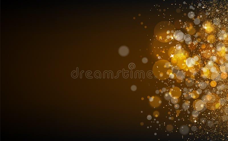 Las estrellas del oro, polvo, partículas que brillan intensamente de los puntos dispersan el confett de la textura ilustración del vector