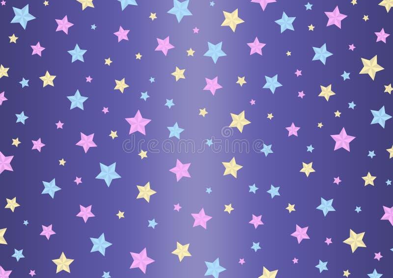 Las estrellas del rosa, azules y amarillas modelan en el fondo púrpura de Gradated ilustración del vector