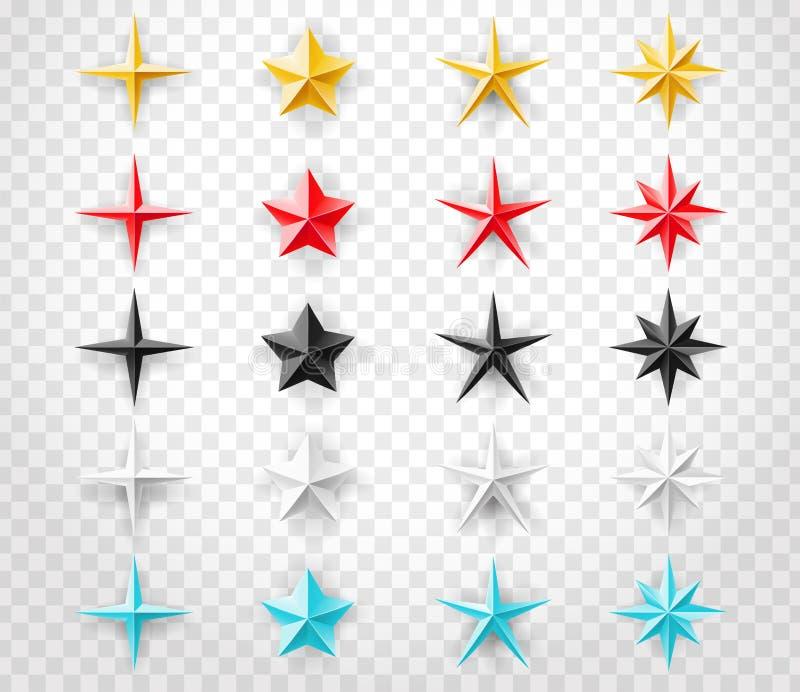 Las estrellas fijaron de diversos colores en fondo transparente Elemento del diseño de la decoración para su diseño ilustración del vector