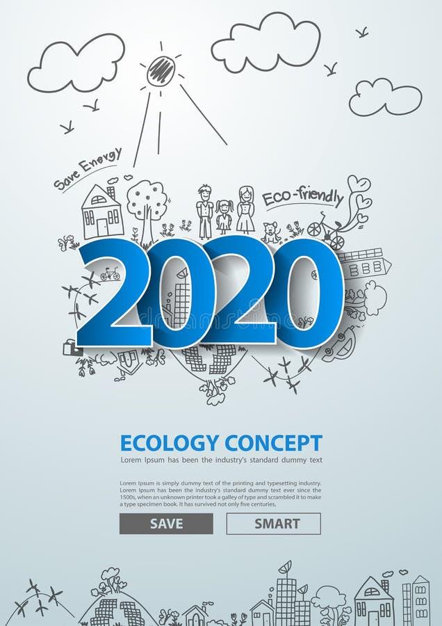 Las etiquetas azules etiquetan 2020 diseño del texto del Año Nuevo en el dibujo creativo ambientales stock de ilustración