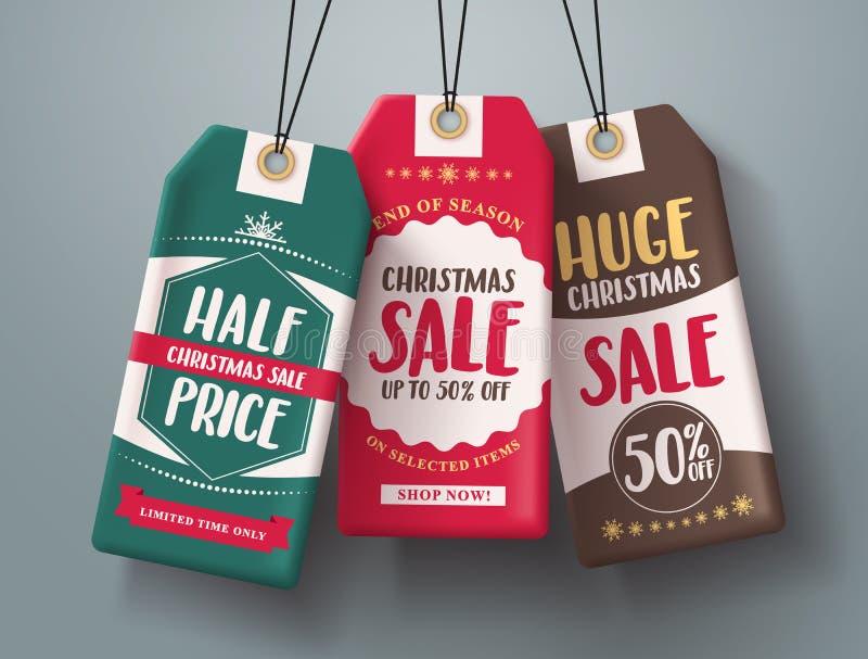 Las etiquetas de la venta de la Navidad que colgaban vector fijaron en diversos colores con venta enorme y el medio texto del pre ilustración del vector