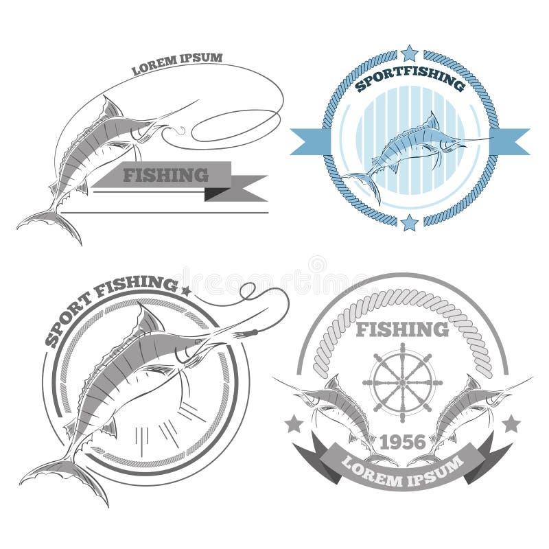 Las etiquetas de las insignias de los emblemas de la pesca de la aguja diseñan los elementos EPS 10 libre illustration