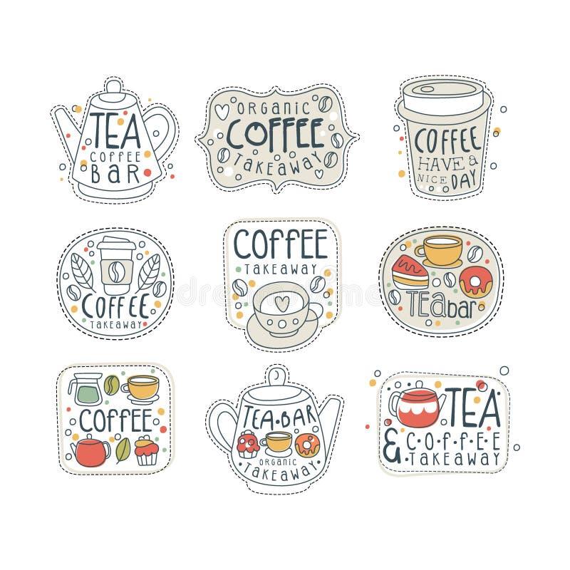 Las etiquetas del café y del té para la tienda, el café o la barra de la calle fijaron en diversas formas Llévese la tienda Vecto libre illustration