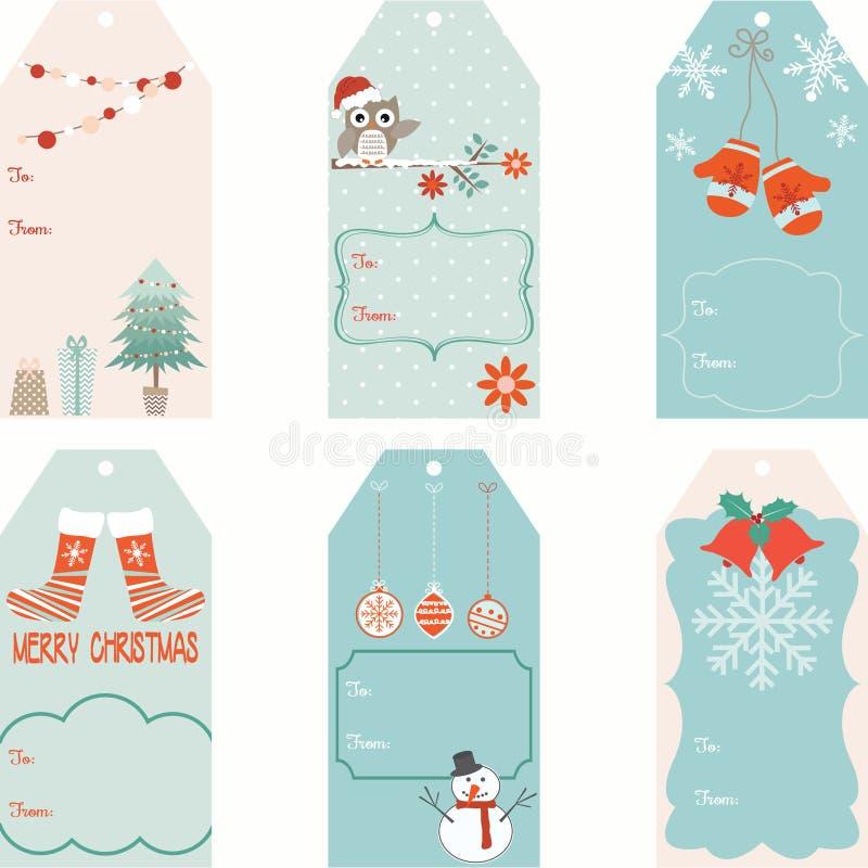 Las etiquetas del regalo de la Navidad fijaron stock de ilustración