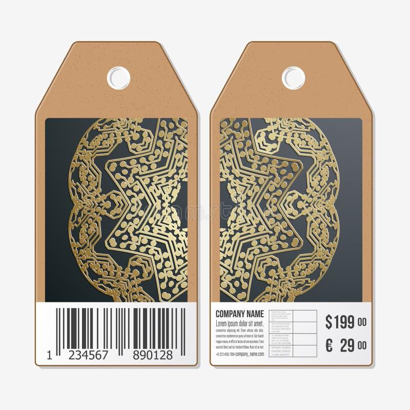 Las etiquetas diseñan en ambos lados, etiquetas de la venta de la cartulina con el código de barras Modelo de oro del microchip,  stock de ilustración