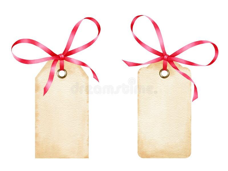 Las etiquetas en blanco del regalo de la acuarela con la cinta roja arquean stock de ilustración