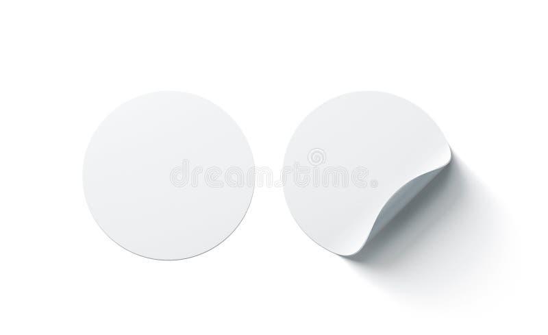 Las etiquetas engomadas adhesivas redondas blancas en blanco imitan para arriba con la esquina curvada stock de ilustración