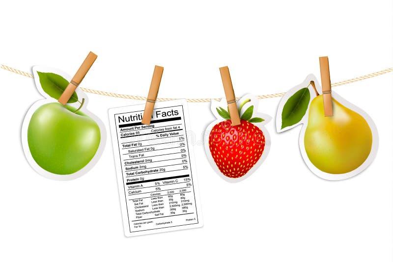 Las etiquetas engomadas de la fruta y una nutrición etiquetan la ejecución en una cuerda. libre illustration