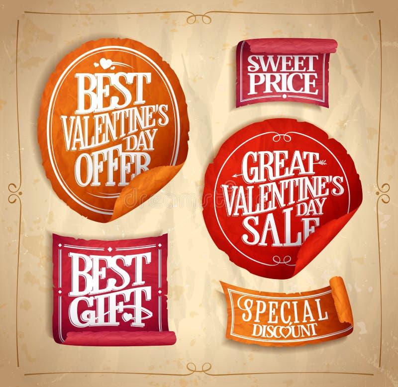 Las etiquetas engomadas de la venta del día del ` s de la tarjeta del día de San Valentín fijaron, estilo del vintage ilustración del vector