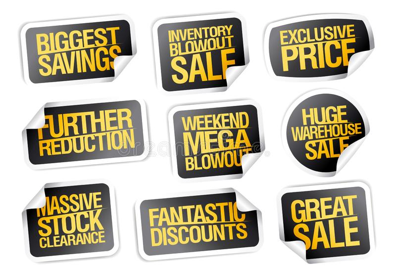 Las etiquetas engomadas de la venta fijaron - los ahorros más grandes, gran venta libre illustration