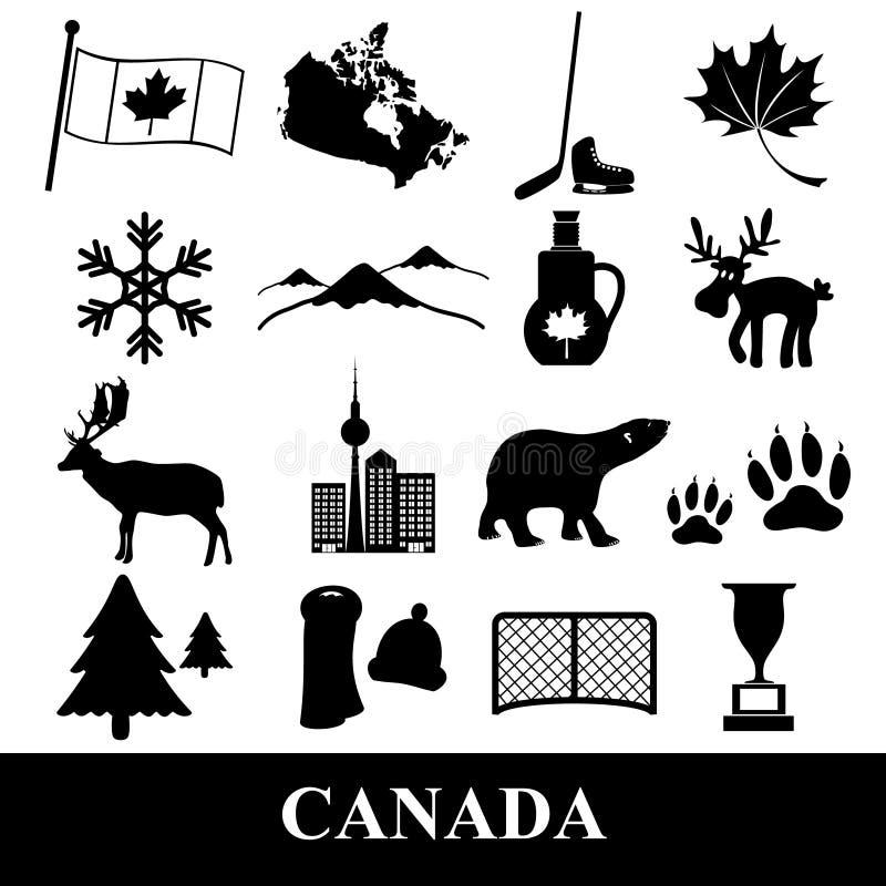 Las etiquetas engomadas de los símbolos del tema del país de Canadá fijaron eps10 stock de ilustración