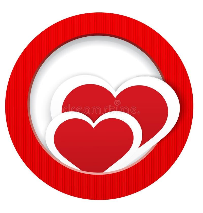 Las etiquetas engomadas del corazón en y hacia fuera enmarcan vector ilustración del vector