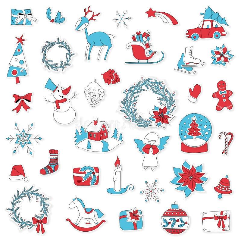 Las etiquetas engomadas determinadas del icono de la Navidad se pueden utilizar para el advenimiento stock de ilustración