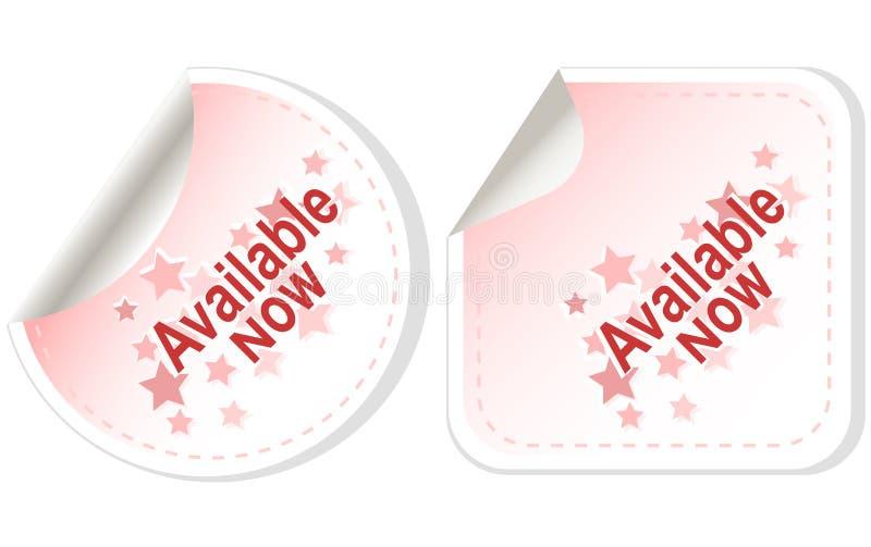 Las etiquetas engomadas disponibles ahora abotonan vector determinado de la tarjeta libre illustration