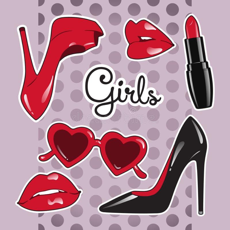 Las etiquetas engomadas fijaron para las muchachas sobre fondo púrpura lindo del lunar Zapatos de tacón alto, vidrios en forma de libre illustration