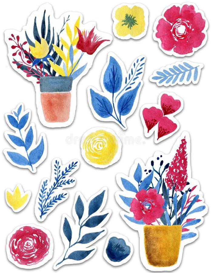 Las etiquetas engomadas hermosas de la flor de la acuarela fijaron sobre el fondo blanco para el diseño stock de ilustración