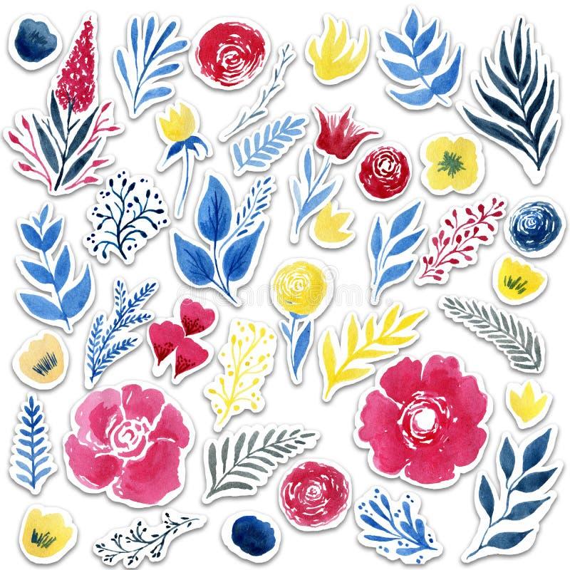 Las etiquetas engomadas hermosas de la flor de la acuarela fijaron sobre el fondo blanco para el diseño ilustración del vector