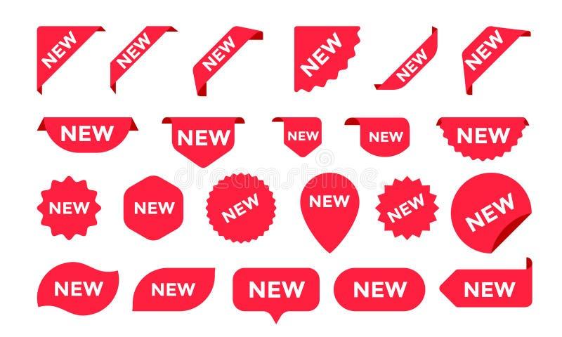 Las etiquetas engomadas para las nuevos etiquetas del producto de la tienda de la llegada, etiquetas o carteles y banderas de la  stock de ilustración