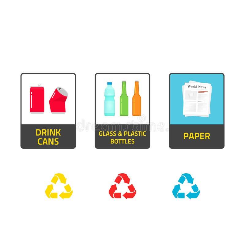 Las etiquetas engomadas para reciclar los cubos de la - Cubos de basura para reciclar ...