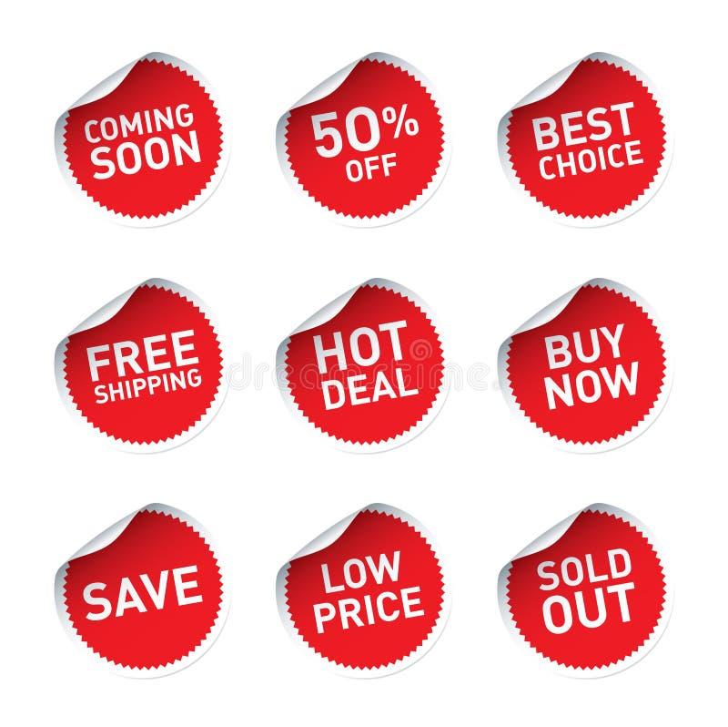Las etiquetas engomadas rojas y el trato caliente del texto, ahora compran, la mejor opción stock de ilustración