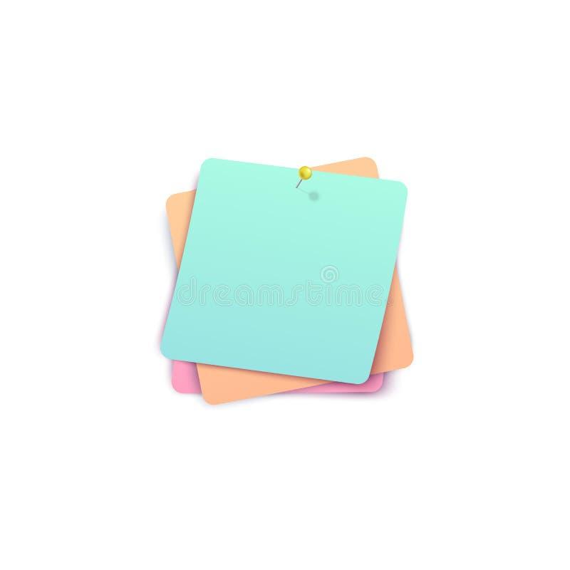 Las etiquetas engomadas tricolores clavaron con tachuelas juntas por estilo realista del pasador libre illustration