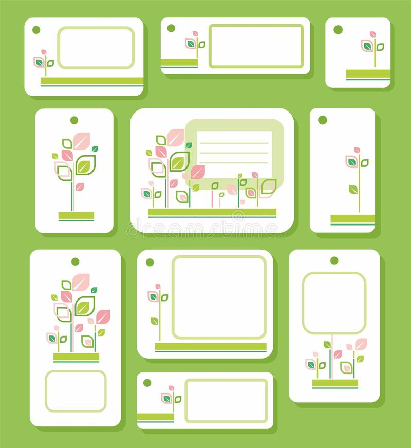 Las etiquetas, etiquetas, verde, rosa se van en el fondo blanco, ecología, naturaleza ilustración del vector