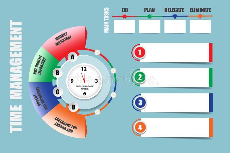 Las etiquetas infographic modernas como nota cubren para la gestión de tiempo ilustración del vector