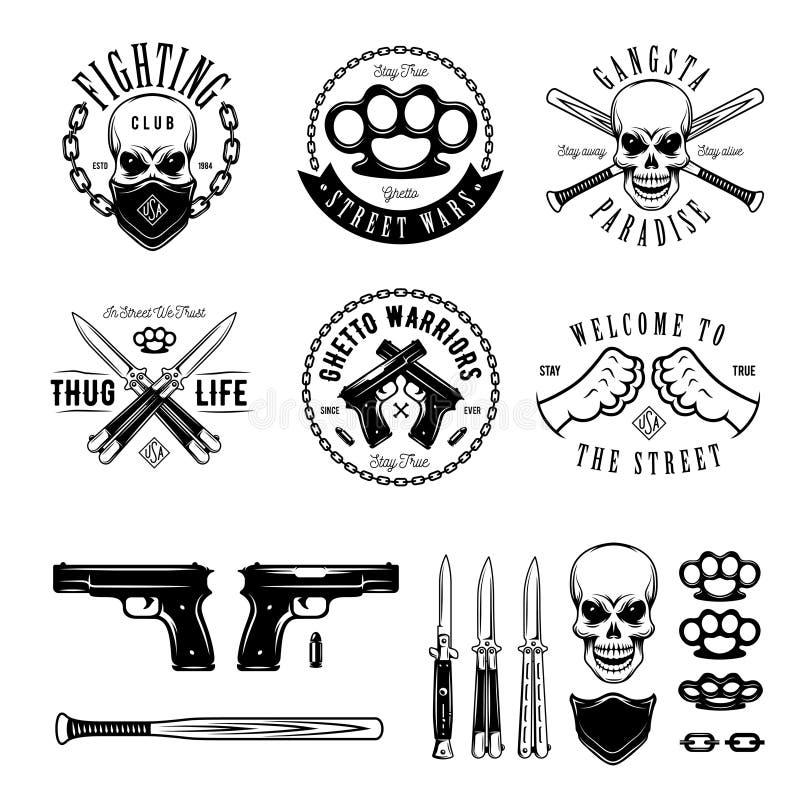 Las etiquetas monocromáticas del gángster badges emblemas y el sistema de elementos del diseño Ejemplo del vector del vintage ilustración del vector